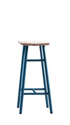 Dedo High Stool in Steel Lacquer Legs, Wooden Seat, by Miniforms Lab