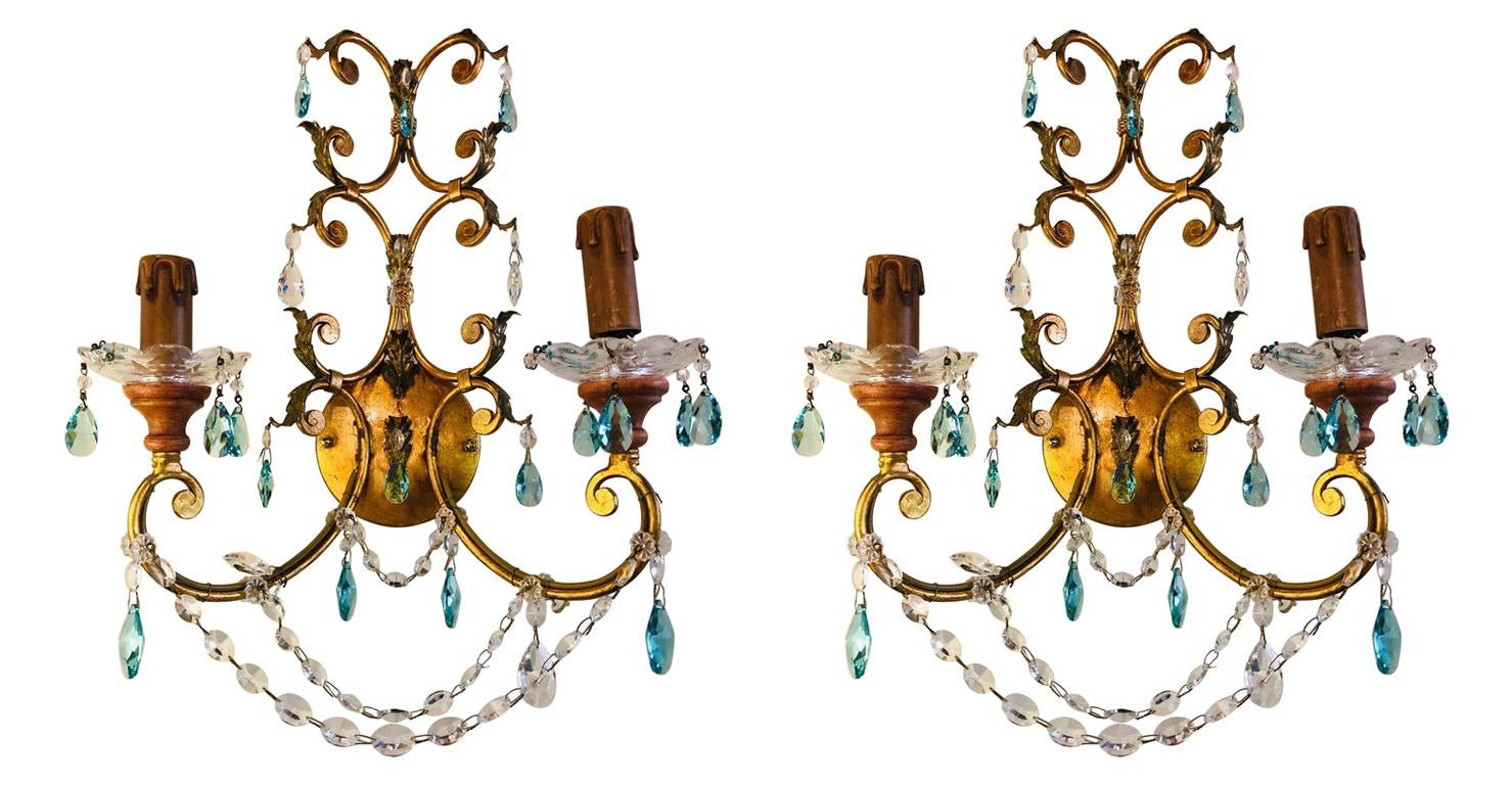 Pair of Neoclassical Handcrafted Italian Gilt Metal and Crystal Sconces