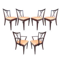 X-Back Dining Chairs by Paul Frankl, Set of Six