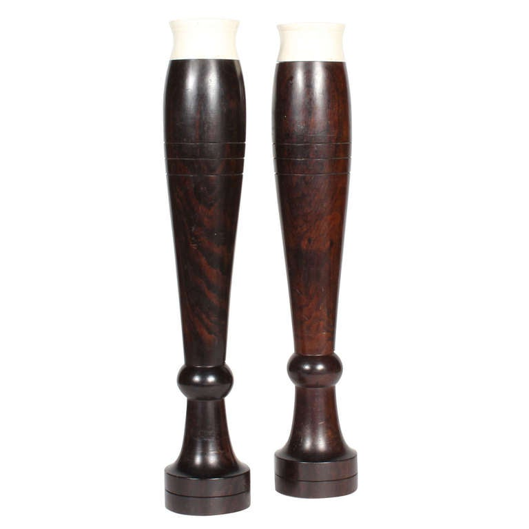 Pair of Tall Anglo-Indian Vases in Turned Rosewood with Bone Tops