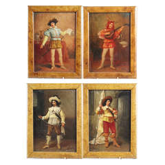 Set of Four Extremely Fine 19th Century Oil on Board Paintings, Signed Le Brun