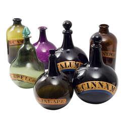 Wonderful Set 7 English 19th Century Coloured Glass Pharmaceutical Jars