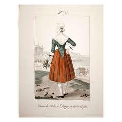 Latine Engraving #73 Femme Du Polet, a Dieppe, En Habit De Fete