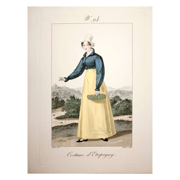 """Etching by Lante Engraving by Gatine """"#94 Costume d'Etrepagny"""""""
