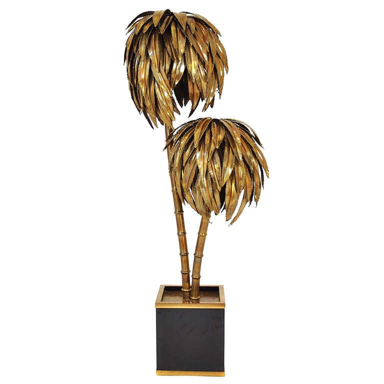 Palm tree floor lamp made by maison jansen france circa for Art deco palm tree floor lamp