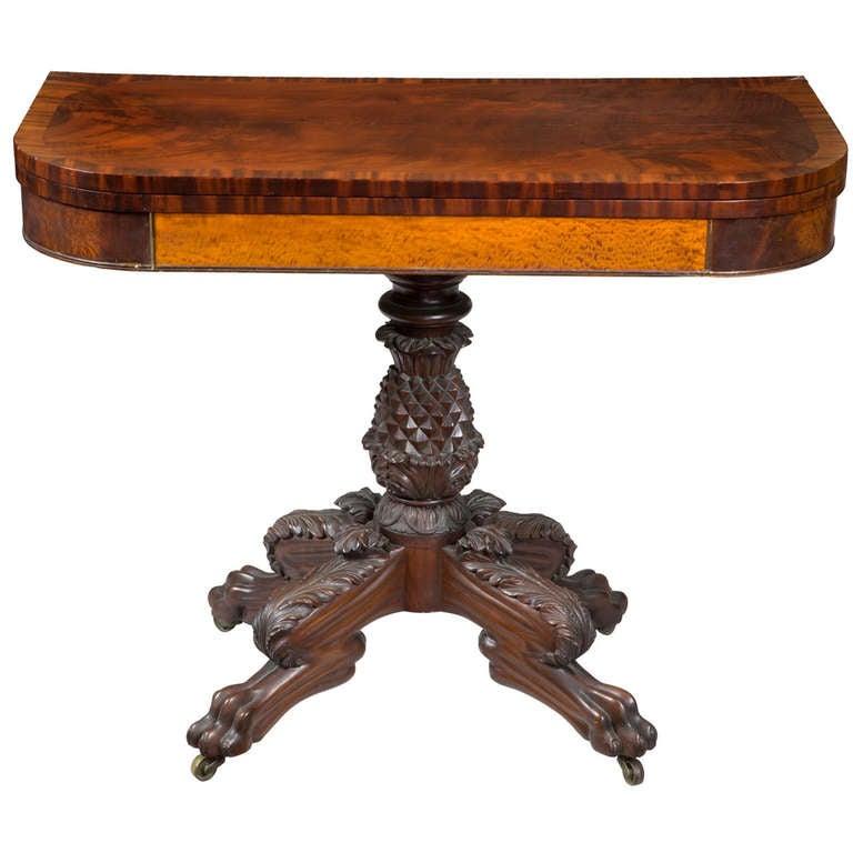 Classical Mahogany and Satinwood Pineapple Card Table, circa 1820