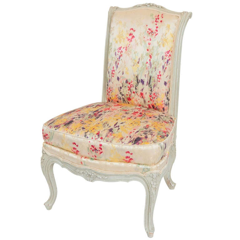 Antique Slipper Chair Carolina Herrera Upholstered Boudoir Chair at 1stdibs