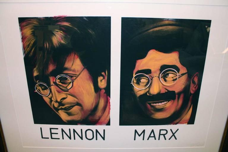 Lennon and Marx - White Figurative Painting by Ron English
