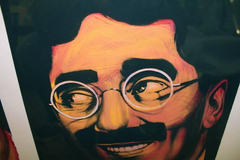A great iconic image of two legends John Lennon and Groucho Marx. The  symbolism is classic Ron English, these greats represent the opposites of their namesakes Karl Marx and Vladimir Lenin. these are silkscreens which were done are artist's paper I