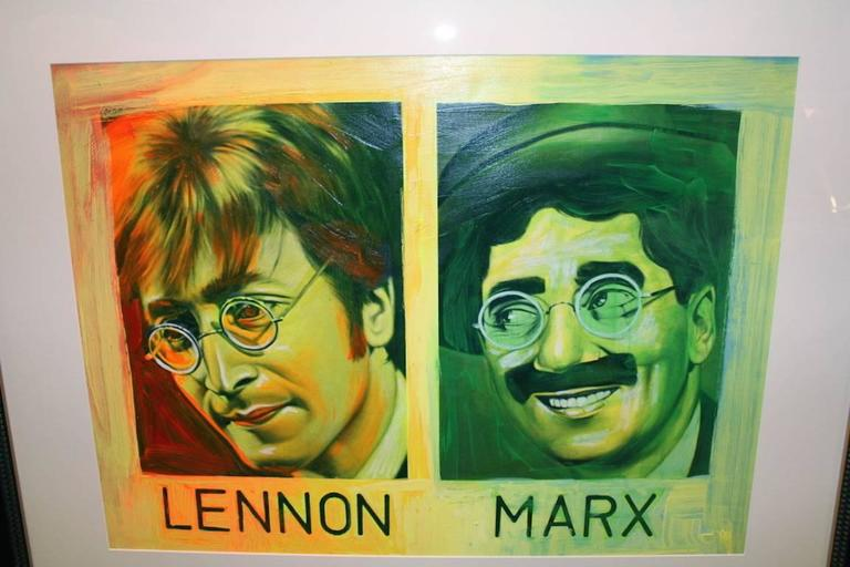 john Lennon and Groucho Marx - Painting by Ron English