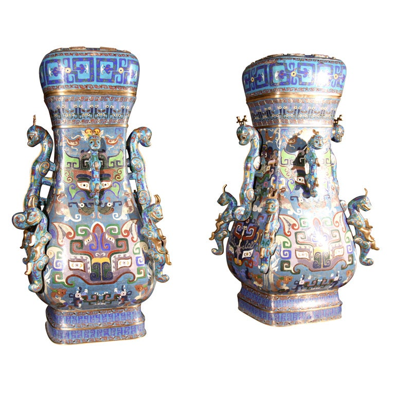 Pair of Chinese Cloissone Vases For Sale