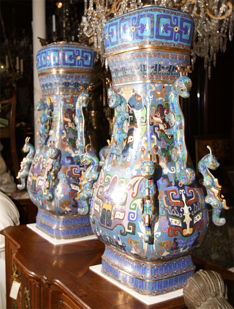 Pair of Chinese Cloissone Vases For Sale 1