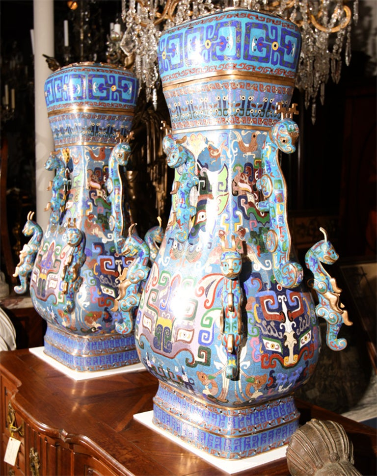 Pair of Chinese Cloissone Vases For Sale 2