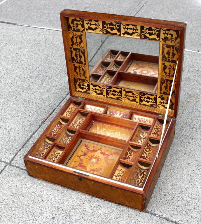 Intricate Straw Work Inlay Jewelry Box with Interior Shelves and