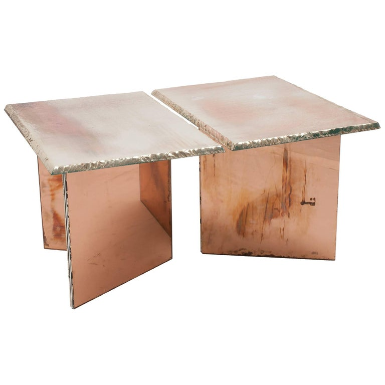 Flight contemporary Coffee-low Table, 70x50cm, rose glass base, Silvered Glass For Sale