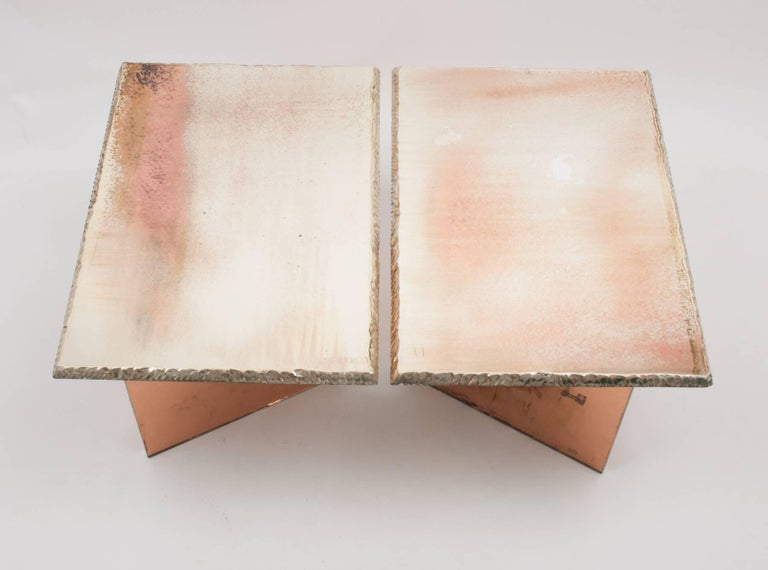 This  table is an art contemporary piece, made entirely by hand in Tuscany Italy, 100% of Italian origin.   The special silver plating treatment, performed over the years by Sabrina, gives uniqueness to the entire object, always different and