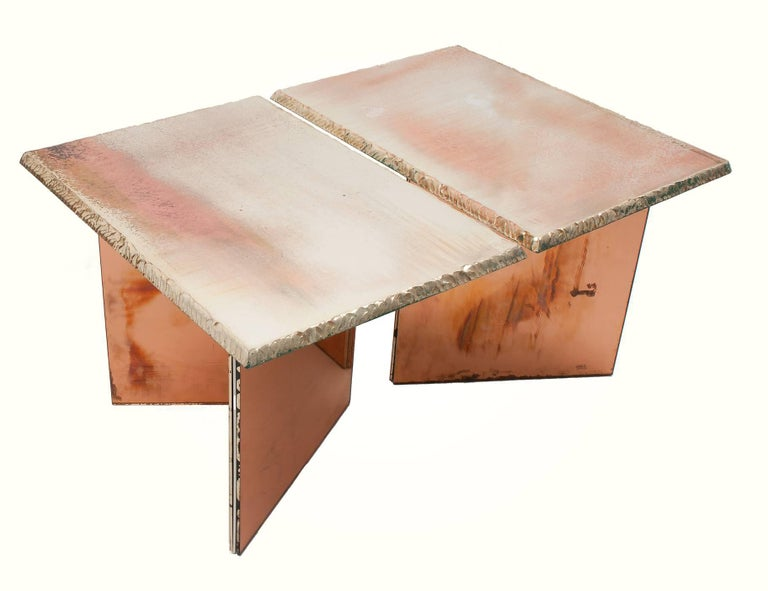 Modern Flight contemporary Coffee-low Table, 70x50cm, rose glass base, Silvered Glass For Sale