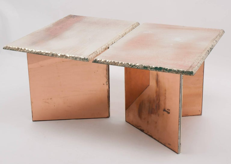 Italian Flight contemporary Coffee-low Table, 70x50cm, rose glass base, Silvered Glass For Sale