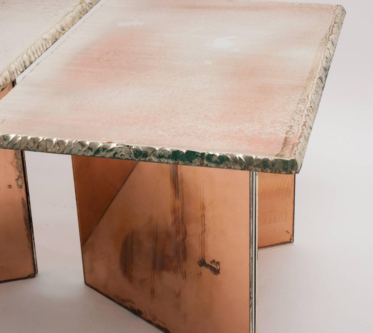 Metal Flight contemporary Coffee-low Table, 70x50cm, rose glass base, Silvered Glass For Sale