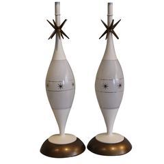 Pair of 1950s Atomic Lamps, Raymond Loewy Sputnik Design