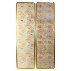 Exceptionally Large Japanese Brocade Silk Panels in Gilt Frames