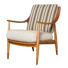 Pair of Hvidt and Molgaard Teak and Oak Lounge Chairs