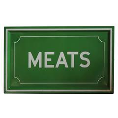 1950s Enamel MEATS Sign