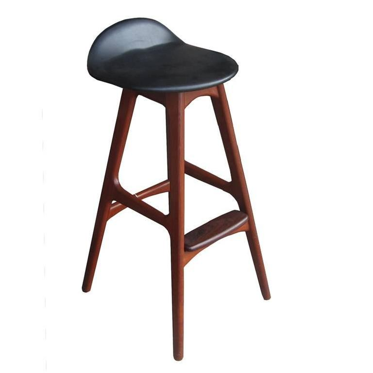 1 Vintage Erik Buch Black Leather Solid Teak And Rosewood Bar Stool For