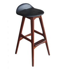 1 Vintage Erik Buch  Leather Solid Teak and Rosewood Stool