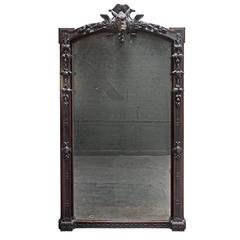 Huge 19th Century Fine Carved French Oak Mirror with Boar's Head