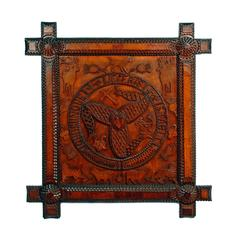 Figural Tramp Art Plaque with the Coat of Arms of the Isle of Man