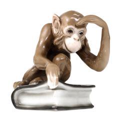 """""""Monkey Sitting on a Darwin Book"""" Figurine by Haas & Czjzek, Bohemia, 1940s"""