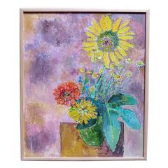 "Painting by French Artist, Edouardo Mac; Avoy, 1991, ""Bouquet au Toirnesol"""