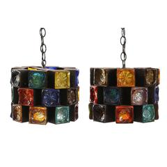 Multi Colored Glass and Iron Chandelier Hanging Lights by Feders