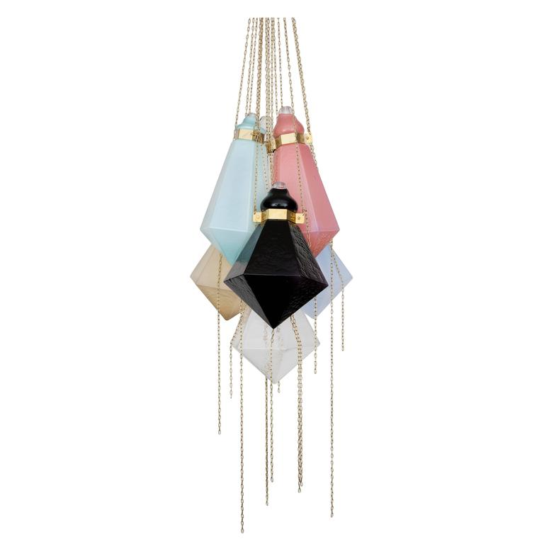 Glass Chandelier by Frida Fjellman, Sweden 2016 For Sale