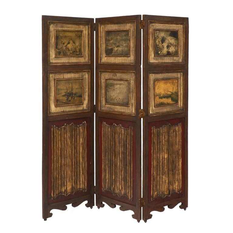 Antique Painted Three-Panel Folding Screen For Sale
