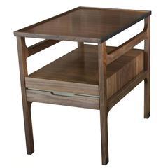 Tiernan Side Table in Oiled Walnut with Darkened Brass