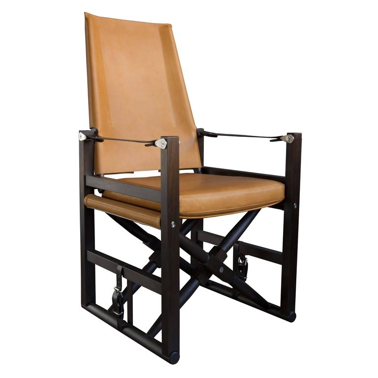 High Back Cabourn Folding Chair in Macassar Stained Walnut with Tan Upholster