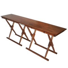 Matthiessen Console in Oiled Walnut with Dark Chocolate Leather Strapping