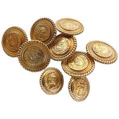 Vintage Coco Chanel Gold-Tone Coin Nine Button Set