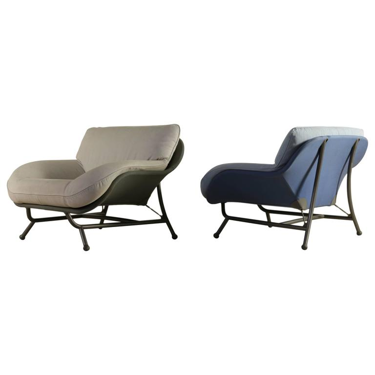 Two Armchairs by Massimo Iosa Ghini for Cassina Metal Fabric Foam, Italy