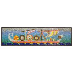 Rare Evelyn Ackerman Mosaic Tile Wall Hanging, Grecian Long Boat Scene