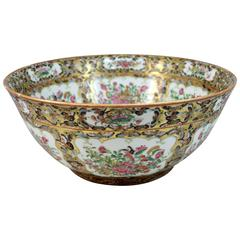 Large 19th Century Chinese Export Famille Rose Black Butterfly Punch Bowl