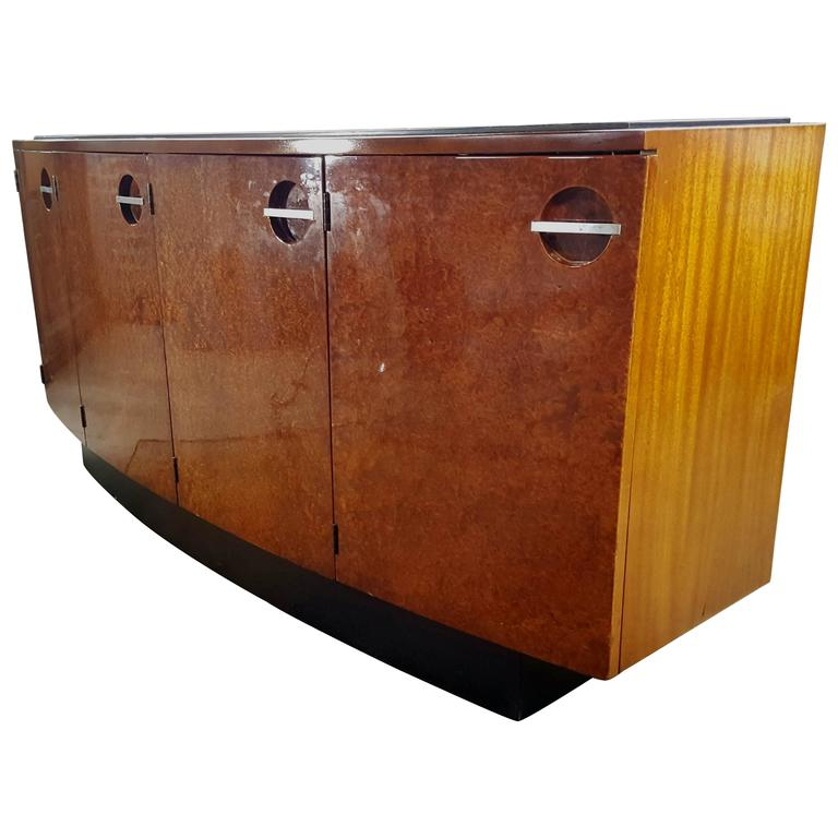 Classic Art Deco Burl Mahogany Sideboard, Gilbert Rohde for Herman Miller