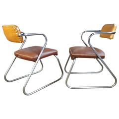 "Classic Art Deco Tubular Chrome and Oil Cloth ""Z"" Chairs"