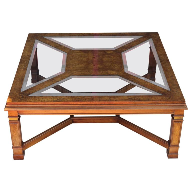 Elegant Brass And Glass Coffee Table: Modern Burl Brass And Smoked Glass Square Coffee Table For