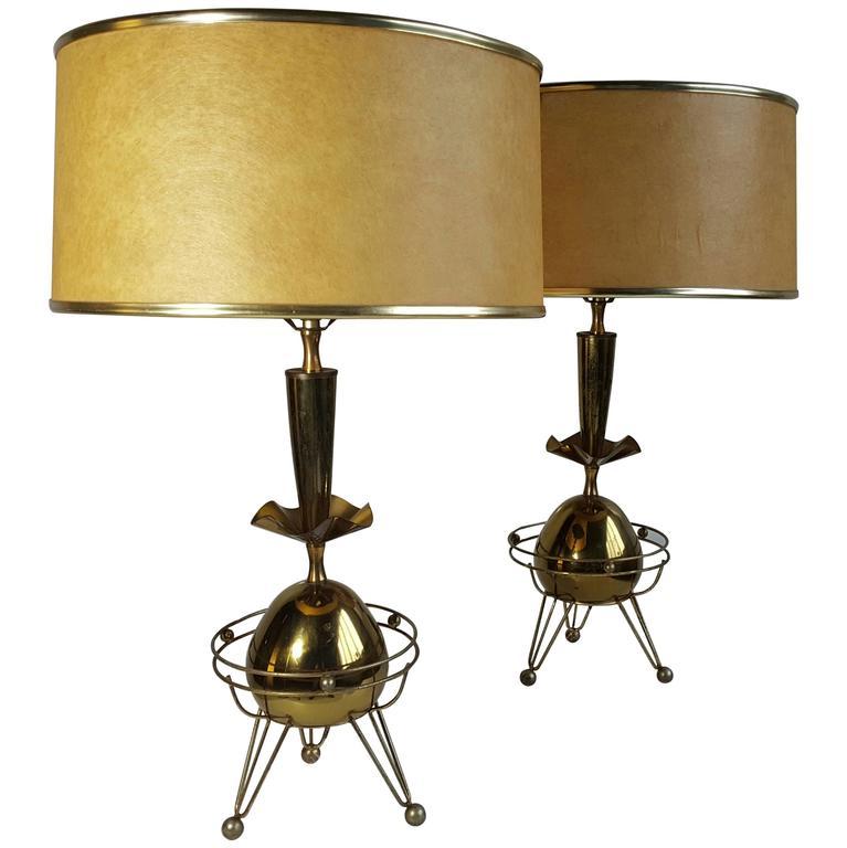 Classic Pair of Mid-Century Modern Brass Atomic Lamps, Nessen Studios
