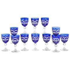 Twelve Val Saint Lambert Hand Blown Crystal Goblets, Cobalt Blue Cut to Clear