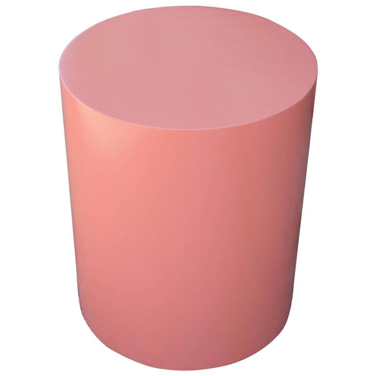 Glossy Coral Lacquered Modern Drum Side Table at 1stdibs