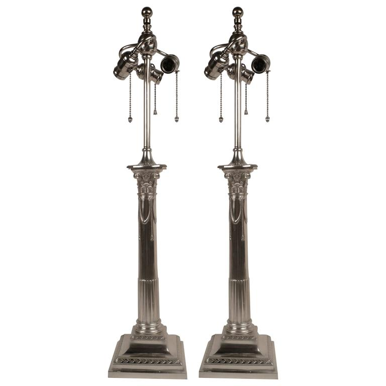 Pair of E. F. Caldwell Silver Plated Columnar Lamps For Sale